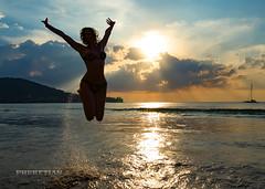 Girl and Catamaran, Kamala beach, Phuket island, Thailand           XOKA9673b-NEW-S