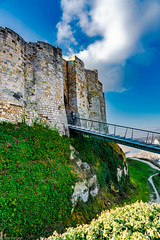 View of a bridge connecting outer to the inner parts of the Château Gaillard (castle ruin build by Richard the Lionheart, Normandy Region. France -36