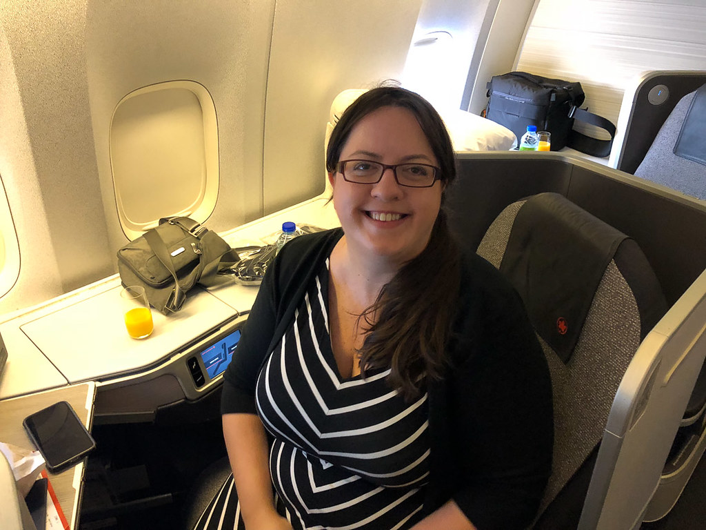 Melissa on Air Canada Business class seat 6K