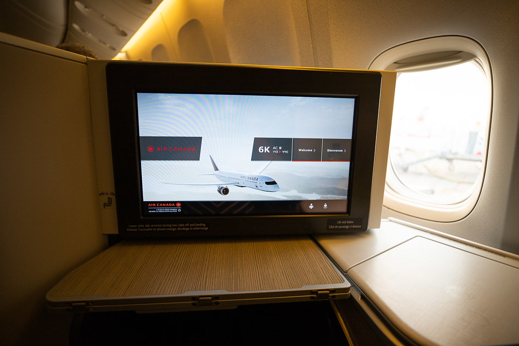 TV Screen Air Canada Business Class