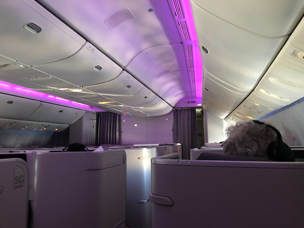 Mood lighting on Air Canada 777 Business class