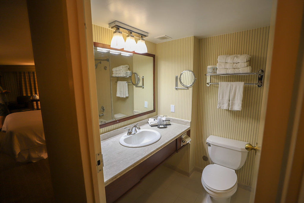 Bathroom and countertops at Toronto airport hotel