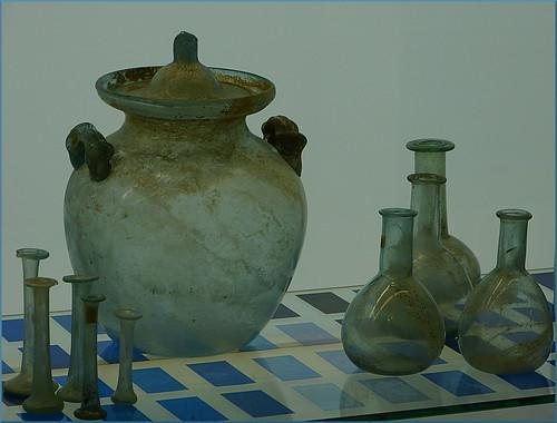 Glassware from excavations in Museum Het Valkhof in Nijmegen