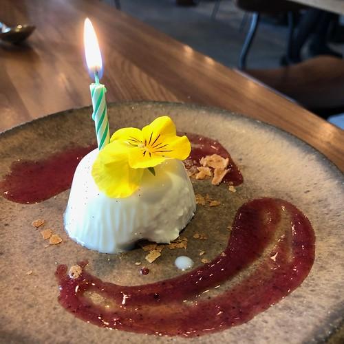 Birthday panna cotta at Pausa in San Mateo