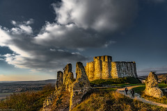 Sunset view of the ruins of the outer wall in relation to the inner enclosure of Château Gaillard (ruined castle built by Richard the Lionheart), France -41a