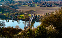 View of the D135 Bridge over the Seine River at Les Andelys from the outer walls of Château Gaillard (ruined castle built by Richard the Lionheart, France -40