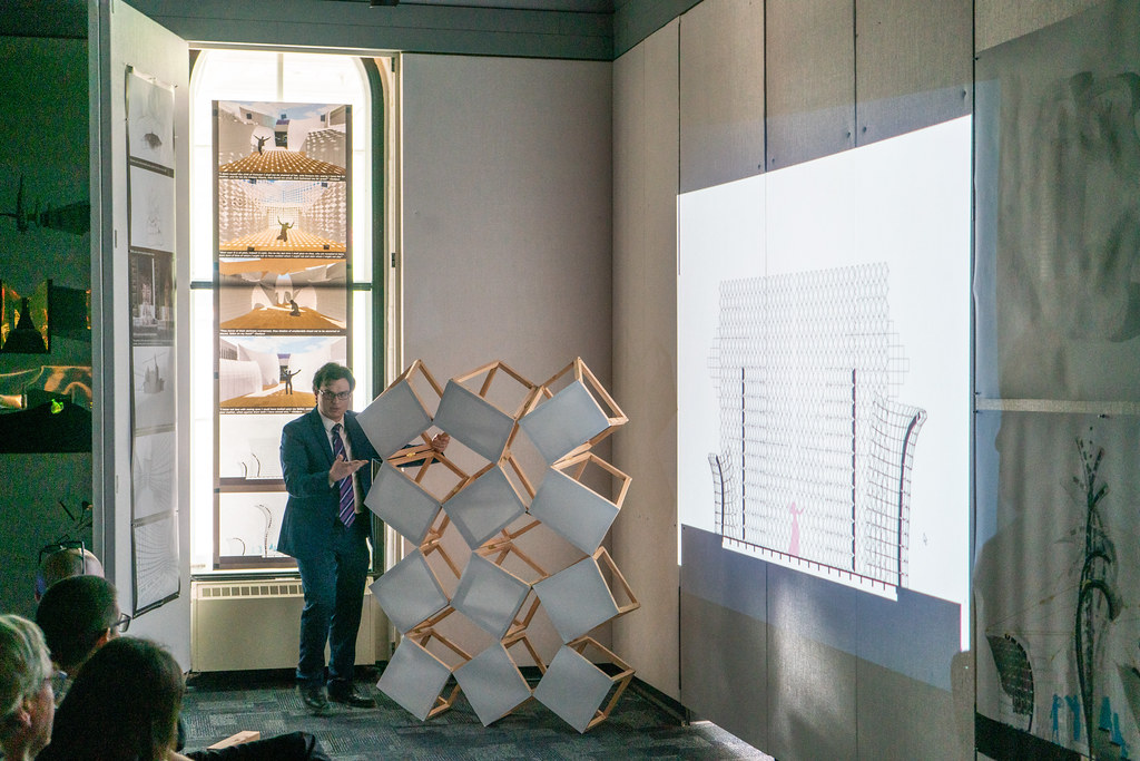 Evan McDowell's (B.Arch. '19) thesis review. Photo by Andy Chen (B.Arch. '20).