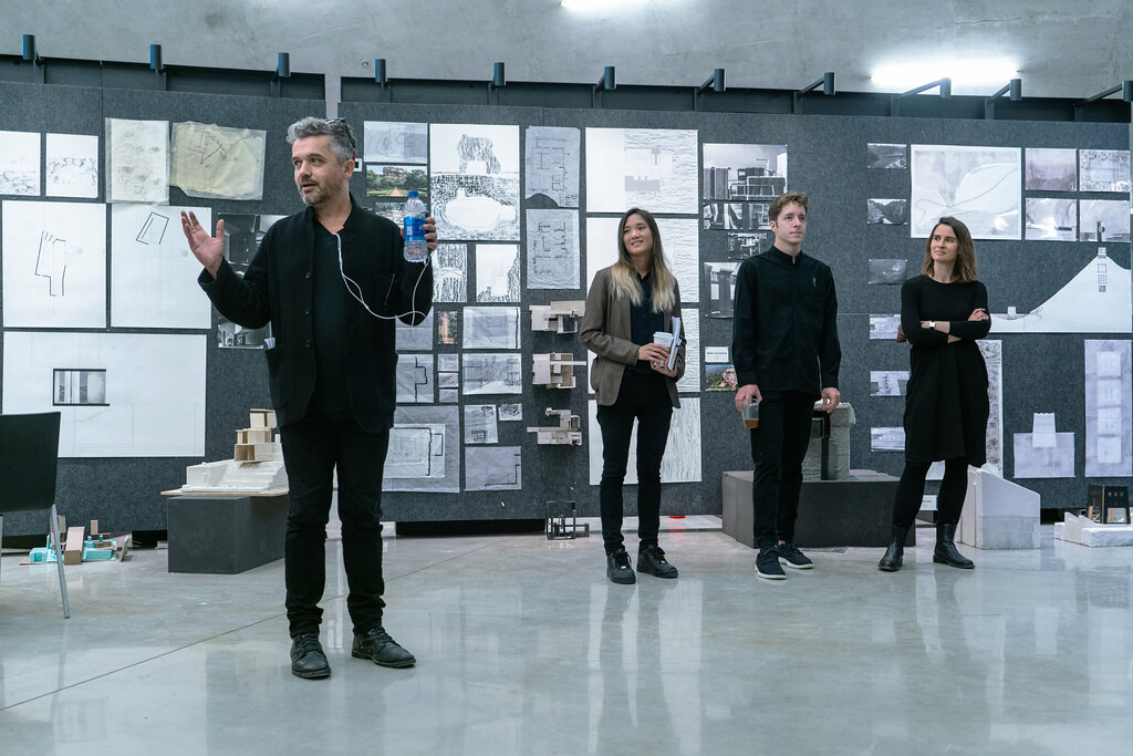 Assistant professor Luben Dimcheff introducing the first-year B.Arch. final reviews, spring 2019, in Sibley and Milstein halls.