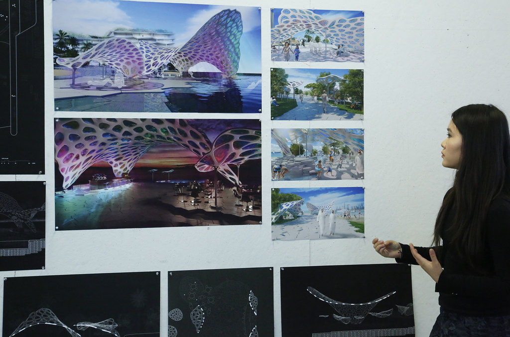 A student presenting in the option studio review for Matter Design Computation: Human-Centered Adaptive Architecture in the UAE, spring 2019, Bibliowicz Family Gallery.