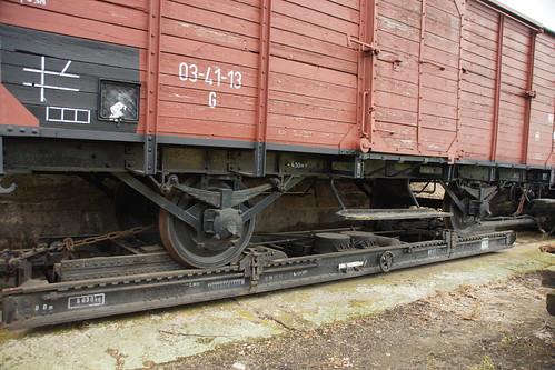 Güterwagen auf Rollschemel in Mügeln