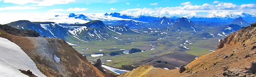 IIceland ~ Landmannalaugar Route ~  Ultramarathon is held on the route each July ~ Hiking from Camp
