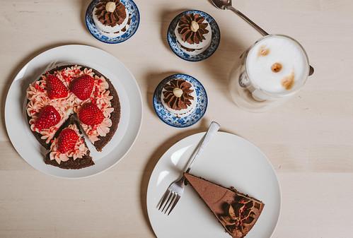 Asorti Of Chocolate, Strawberry Cakes