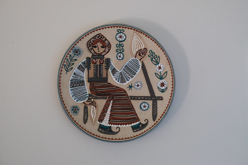 A Russian plate on the wall