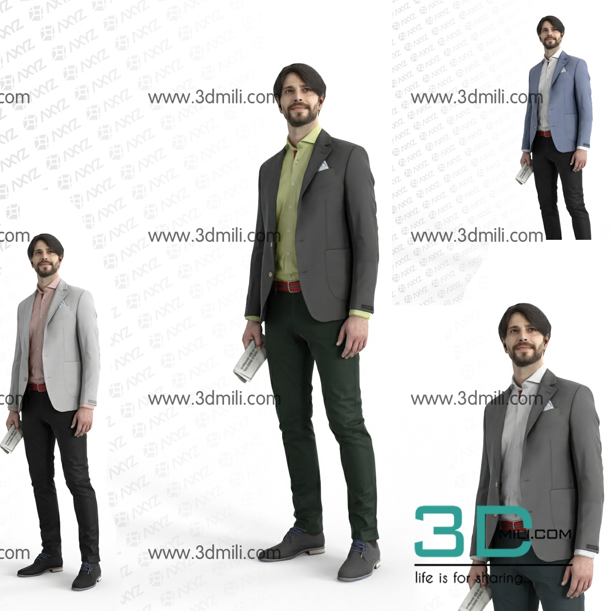 24  Render People Free Download - 3D Mili - Download 3D Model - Free