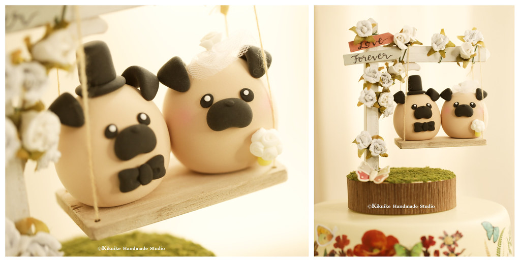 Love Pugs Bride And Groom Mochiegg Wedding Cake Topper Cute