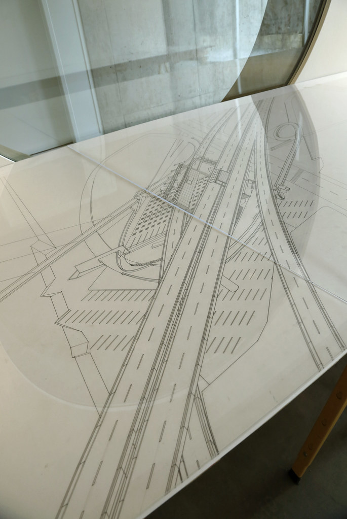Close-up view of a drawing from the Arthur Ovaska exhibition <em>Selections from an Archive</em>, Bibliowicz Family Gallery.