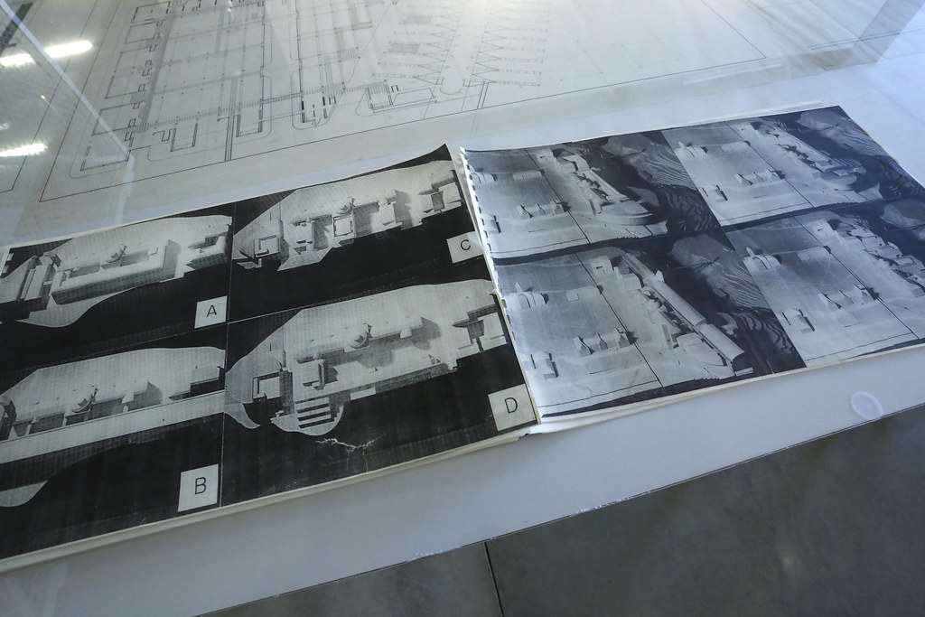 A close-up view of renderings  by Arthur Ovaska for a proposed expansion of the College of Architecture, Art, and Planning, from the exhibition <em>Selections from an Archive</em>, Bibliowicz Family Gallery.