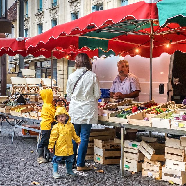 Market scene Bergerac France.