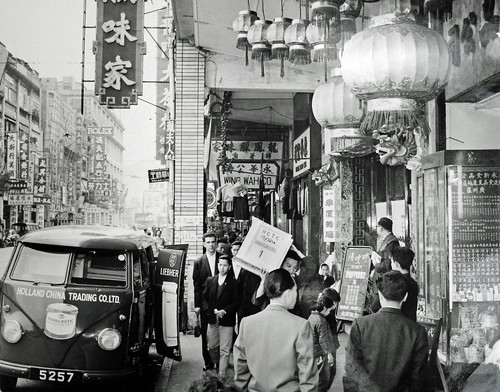Holland-China Trading Company: Hong Kong, Johnston Road, Central Wanchai, VW T1 delivery van, ca. 1956 (original print)