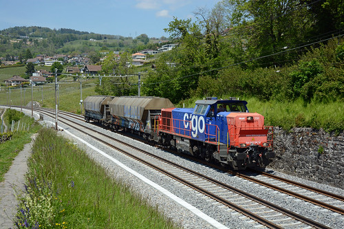 Am 843082-9 with short freight train, Bossière, 23 May 2019
