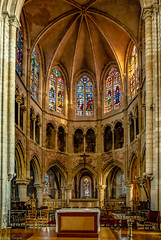 Interior of Petit Andely Saint Sauveur Church: note the beautiful stained glass windows and the design of the ceiling, Les Andelys, France -46
