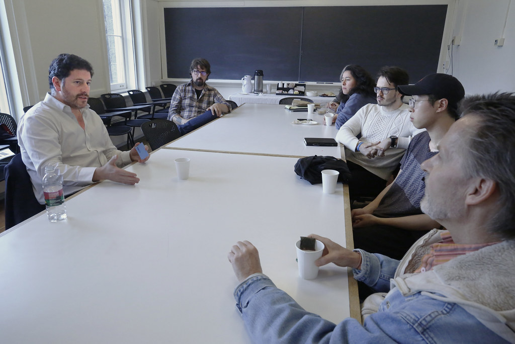 "Javier Pérez-Burgos meeting with students during the ""talk back"" in 115 West Sibley Hall."