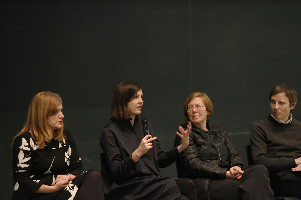 "2019 Preston H. Thomas Memorial Symposium: ""Wasted: Trash Talks: Design for the End of Material as We Know It,"" Abby and Howard Milstein Auditorium and Milstein Hall dome. Pictured from left are guest speakers Maria Aiolova, Meredith Miller, Billie Faircloth, and David Benjamin."