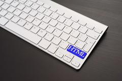 Keyboard With HTML Key in Blue