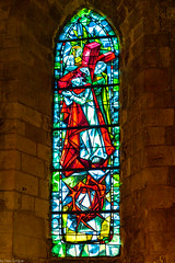 Interior of Petit Andely Saint Sauveur Church: modern design stained glass window, Les Andelys, France -48
