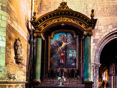 Interior of Petit Andely Saint Sauveur Church: Gothic painting in elegant shrine, Les Andelys, France -49