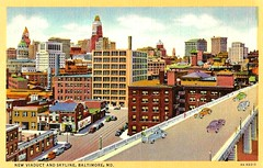 Vintage Baltimore Maryland Postcard - The New Viaduct And Skyline, A C.T. Art-Colortone Postcard, Circa 1930s