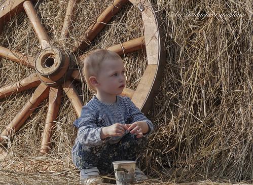 Child in haystack