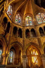 Sunset light entering the interior of Petit Andely Saint Sauveur Church: Les Andelys, France -51a