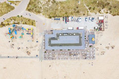 Aerial view of beach pavilion in Zandvoort in the Netherlands