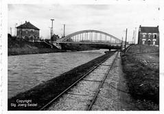 F-02100 Saint-Quentin (02) Canal de Saint Quentin Pont D678 Chemin de Gauchy Treidelbahn Compagnie Générale de Traction sur les Voies Navigables im Jahr 1941 - Photo of Happencourt