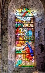 Interior of Petit Andely Saint Sauveur Church: Stained Glass Window,  Les Andelys, France-54a