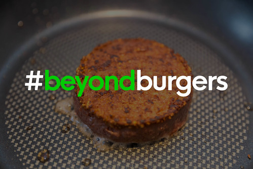 Gluten Free, Soy Free and Vegan #beyondburgers Pattie by Beyond Meat Burger, gets fried in a pan