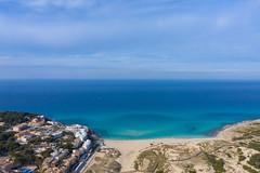 Aerial view of Cala Mesquida beach in Mallorca, Spain
