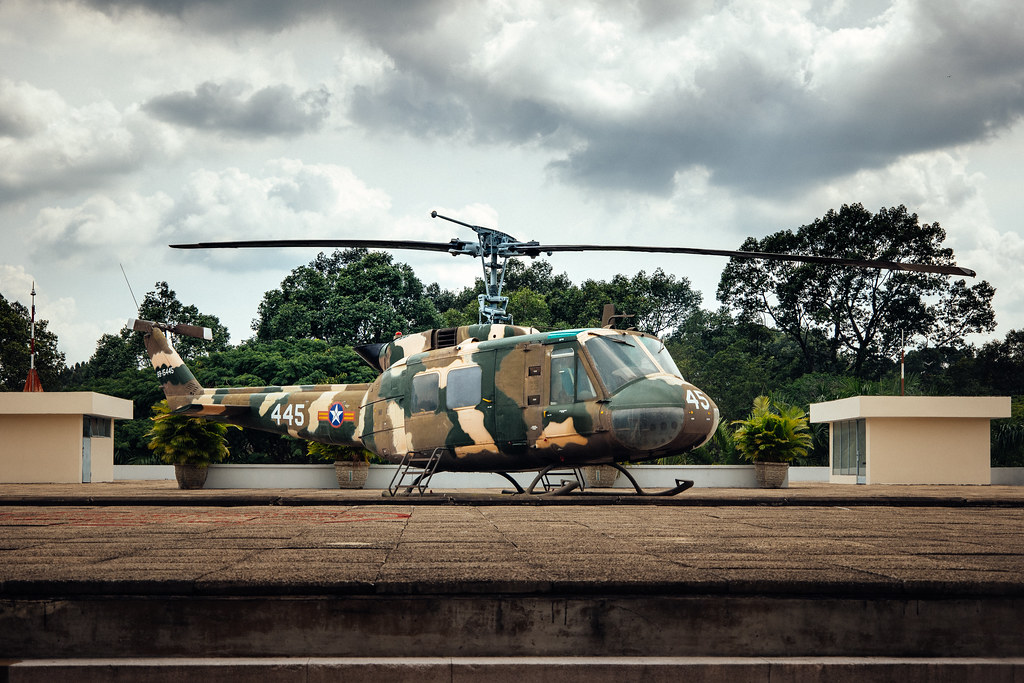 Vietnam war Huey helicopter on the roof of the old