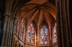 Interior of Petit Andely Saint Sauveur Church: Stained Glass Windows, Les Andelys, France-59