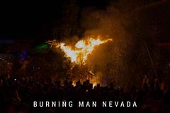 Das jährliche Burning Man Festival in Nevada und der temporären Hippie-Stadt Black Rock City, endet mit Anzünden der riesigen Statue