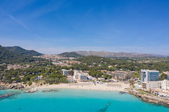 Aerial view of Cala Ratjada on the island of Mallorca, Spain