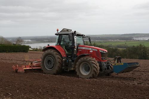 Massey Ferguson 7726 Dyna VT Tractor with a Kuhn HR 5004 Power Harrow & Fleming Front Bucket