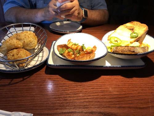 Biscuits, Shrimp Potstickers, Yucatan Shrimp
