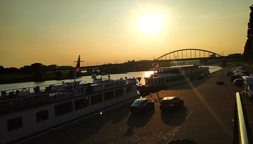 #sunset #river #rhine #boats #shadow