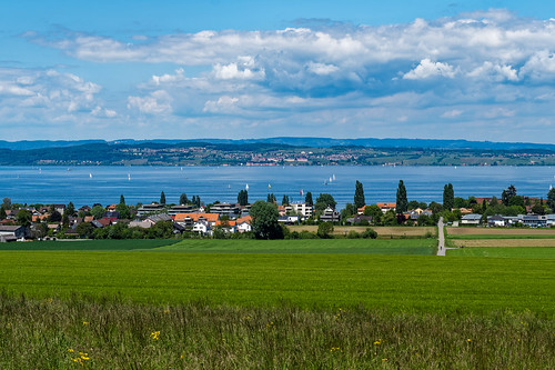 View of Lake Constance towards Meersburg from above Münsterlingen