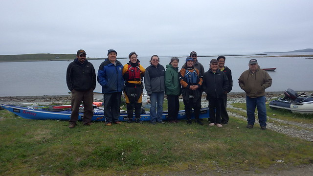 Half the residents of Nikolski come to wave us off on our way, Aleutians 2014