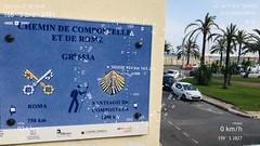 Étape 37 -  Nice - Menton    - Boussole pointant vers la ville de Sousse, vis-à-vis de l'atelier de Ridha Dhib