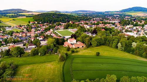 Blick auf Großschönau in der Oberlausitz, Sachsen, Deutschland