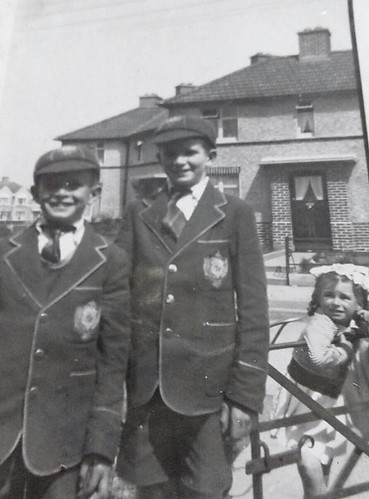 Diarmuid and Rory O,Connor Decies road in there brand new De Last Salle uniforms...looked on by sister Rosemary..1954 app.